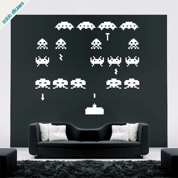 Space Invaders Vinyl Wall stickers for a man/geek/kid space