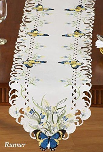 Blue Yellow Embroidered Butterfly Flowers Table Runner