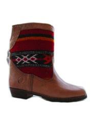 Sahara red and black - handmade leather and kilim
