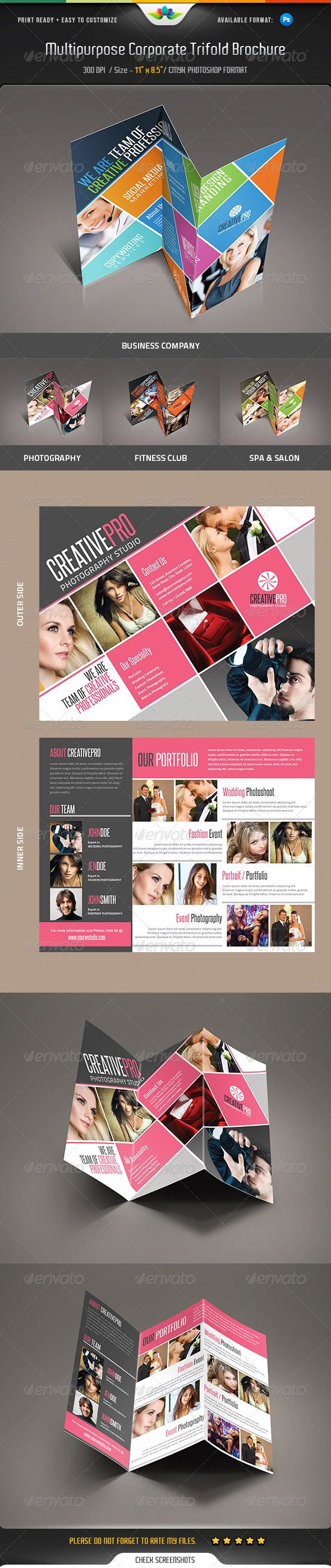 Multipurpose Corporate Trifold Brochure — Photoshop PSD #print #cmyk • Available here → https://graphicriver.net/item/multipurpose-corporate-trifold-brochure-/5293002?ref=pxcr