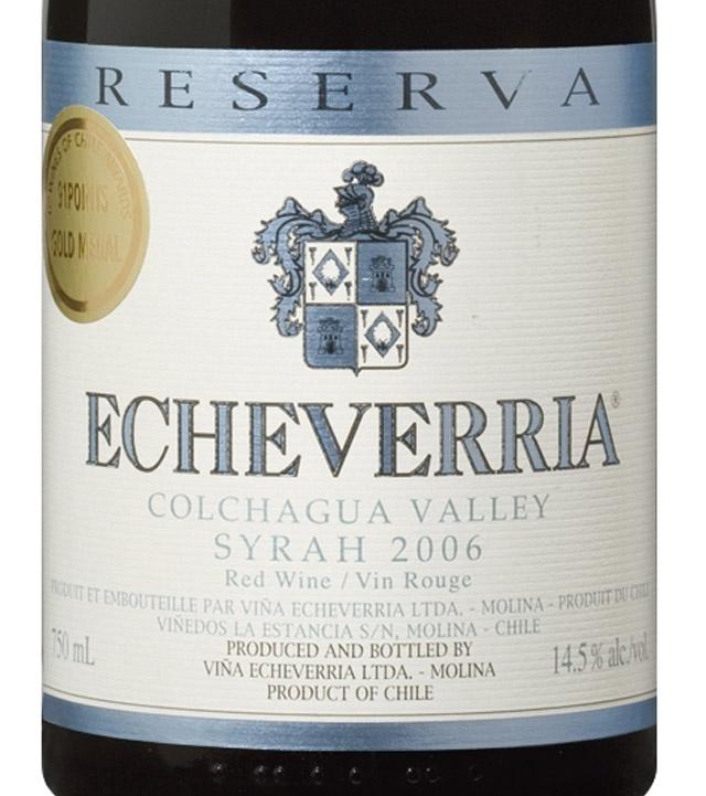 Echeverria Reserva Syrah: Colchagua, Chile