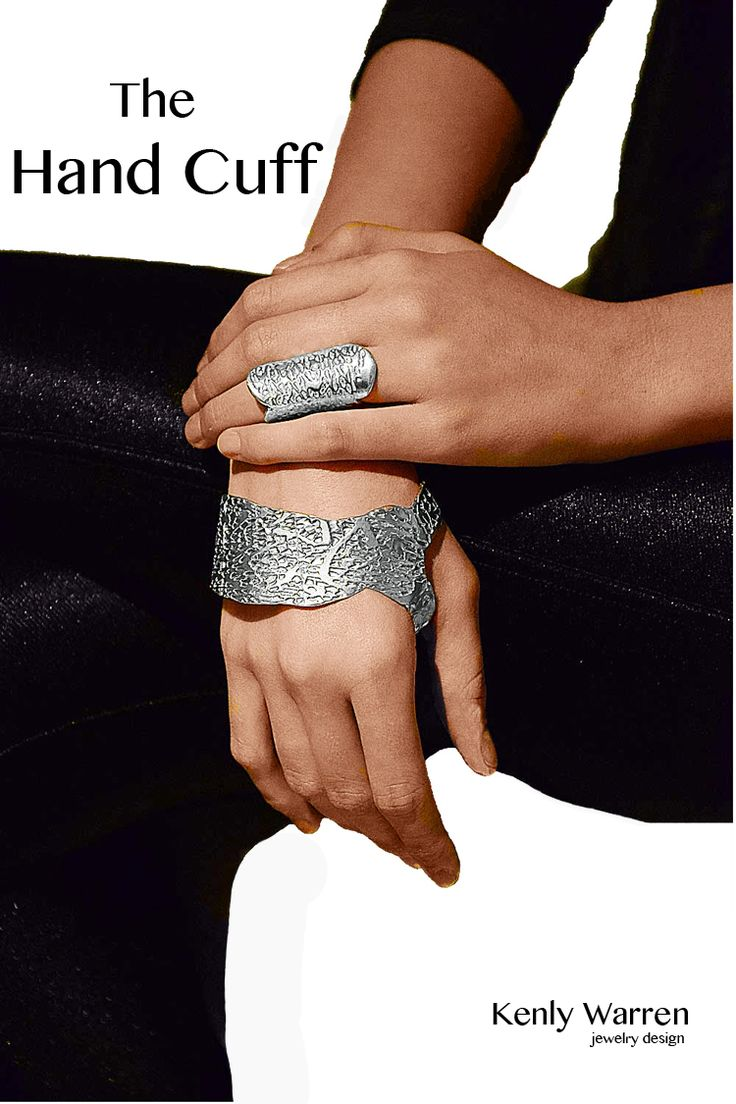 The Hand Cuff, designed to contour the hand. Unique, bold statement piece, created in sterling silver or ancient bronze. Available for his and hers (ring also available) in three general sizes.Click on the image to find more information.