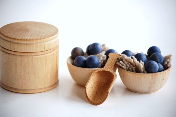Natural Wood Pretend Play Food  BERRIES  n OATMEAL by applenamos, $25.00 #playfood #pretendplay #woodtoys