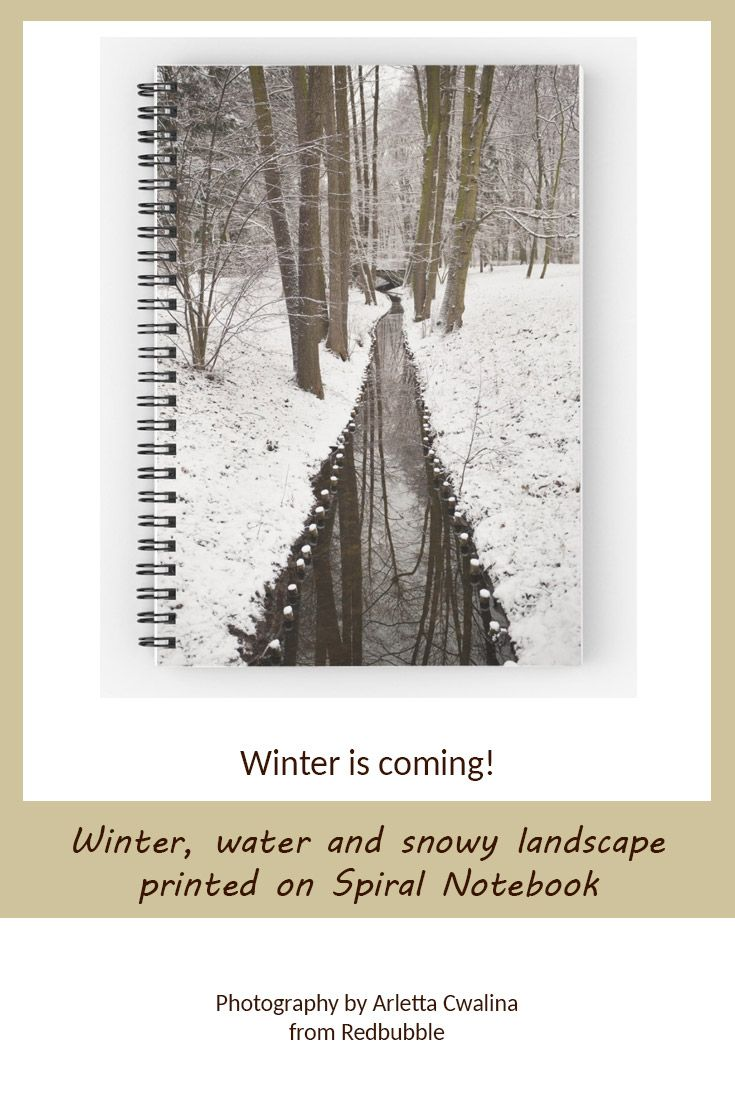 Spiral notebook doesn't have to be boring! See the cover - winter stream in snowy weather landscape in Poland. Nature Photography by Arletta Cwalina/ @redbubble. See more clothes and home decor ideas and if you love it, feel free to share, maybe your friends would like to have it too :) #homedecor #notebook #winter