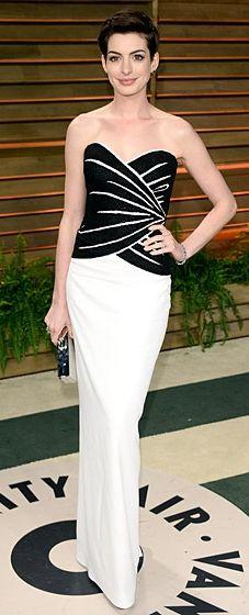Anne Hathaway wears Viktor & Rolf to the 2014 Vanity Fair Oscar Party