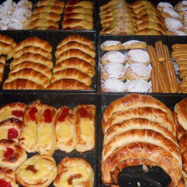 Argentina facturas with dulce de leche, crema pastelera and membrillo