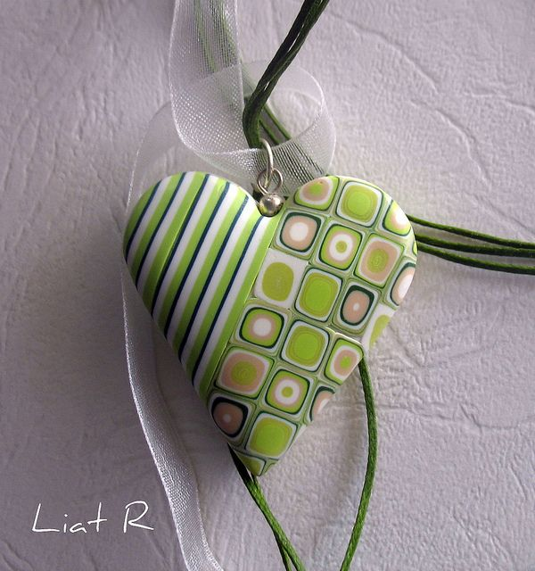 Polymer clay Heart Pendant by Liat R, via Flickr