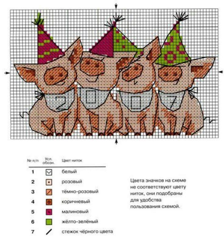 Cross-stitch New Years Piggies Celebrate Card pattern...    Радикал-Фото: Картинка