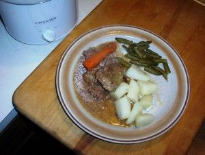 Easy, Gluten-Free Beef Cube Steak for Two, in the Crockpot with Potatoes and Green Beans
