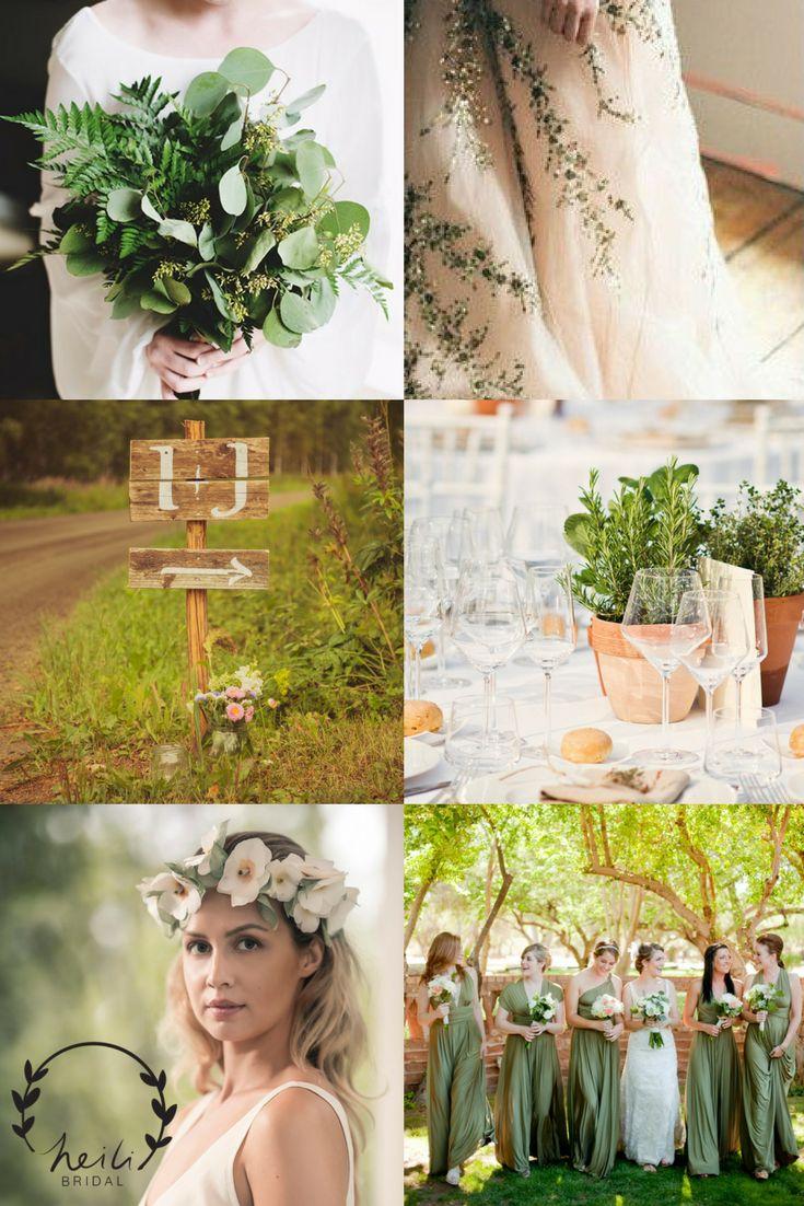 Insiroidu vihreistä häistä! Inspiraatiota ja ideoita vihreisiin keväthäihin Heili Bridalin blogista. Yrttejä morsiuskimpussa ja pöytäkoristeena, kirjottu hääpuku, silkkukukkaseppele ja morsiusneidot vihreissä infinity dress -mekoissa.