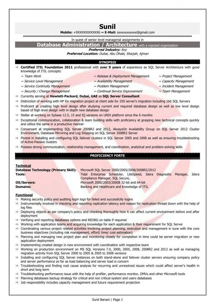 Oracle Dba Resume 2021 In 2020 Sql Jobs For Freshers Resume