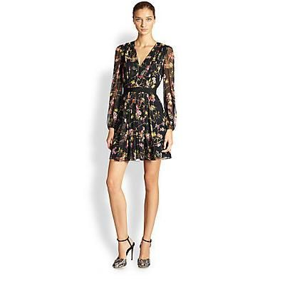 $2,375, Black Floral Silk Playsuit: Giambattista Valli Silk Floral V Neck Dress Black. Sold by Saks Fifth Avenue. Click for more info: https://lookastic.com/women/shop_items/88226/redirect