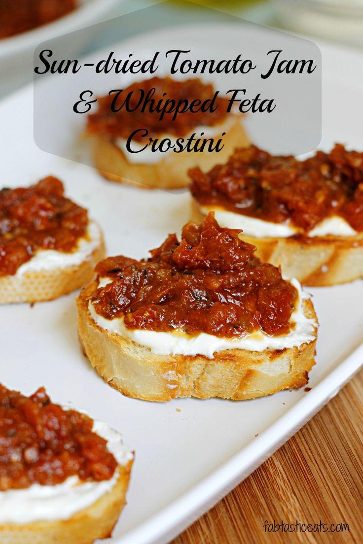 Sun-Dried Tomato Jam and Whipped Feta CrostiniSundried tomato jam and whipped feta crostini....these take crostini applies to a whole new level!