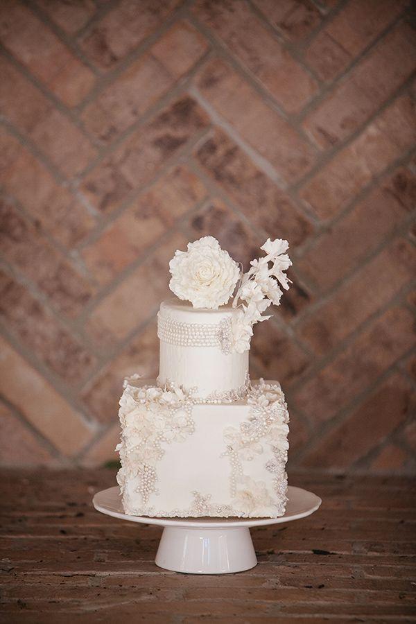 beaded wedding cake #whiteweddingcake http://www.weddingchicks.com/2013/11/18/sareh-nouri-bridal-collection-2/