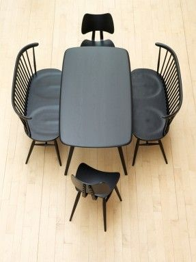 Love seat, stools and table | Black and Wood | By Ercol Furniture, and made in the UK.