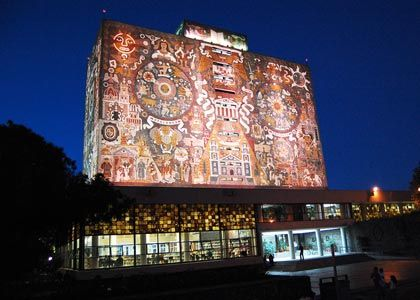 National University of Mexico Library, a UNESCO World Heritage Site. Juan O'Gorman et al; Mexico City, Mexico; 1950-1953. Fully covered in mosaics depicting the history of Mexico and the university.