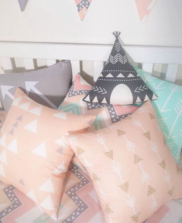 Blush, mint, grey cushions by MamaAndCub on Etsy https://www.etsy.com/listing/247993360/blush-mint-grey-cushions