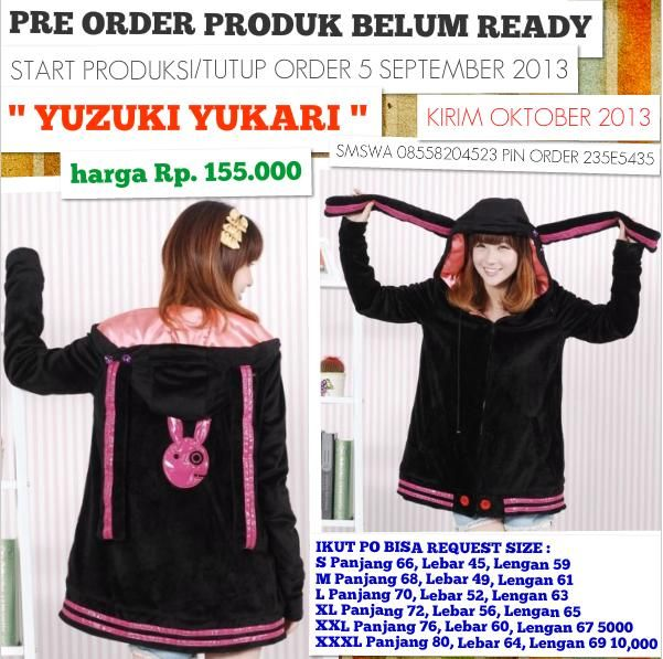 YUZUKI YUKARI VOCALOID - OPEN PRE ORDER - LAST BOOKED 5 SEPTEMBER 2013 - MORE DETAIL PLEASE CEK https://www.facebook.com/JaketSweaterHoodie