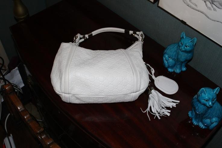 """Gucci """"G"""" Logo White leather Large Hobo Shoulder Bag"""