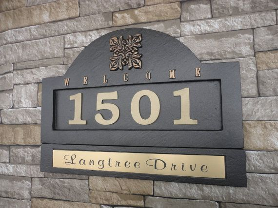 "Spanish Inspired Address Plaque & Name Plate Set  House Numbers / Large 18 x 11"" Customized Engraved Nameplate"