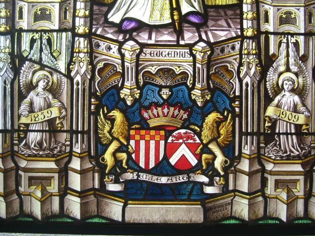 Sint-Kruis Brugge - Bruges - Detail uit het glasraam van de voormalige Peellaertkapel in kerk Thomas van Kantelberg - Erfgoeddag 2006 - In Kleur