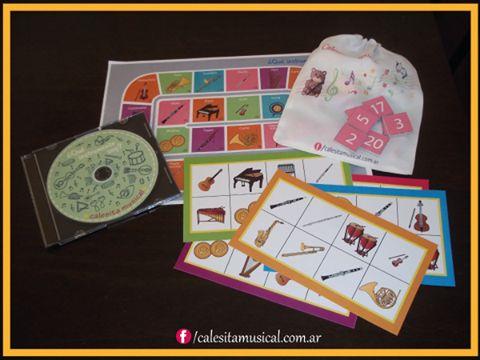 Juego auditivo de reconocimiento de instrumentos. Incluye un tablero, 6 cartones, 24 fichas y un cd. https://www.facebook.com/calesitamusical.com.ar
