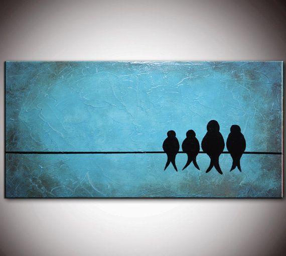 Free shipping, Original peinture abstraite, oiseaux sur un fil, aime la peinture de texture, rustique lourds oiseaux, empâtement oiseaux pei...