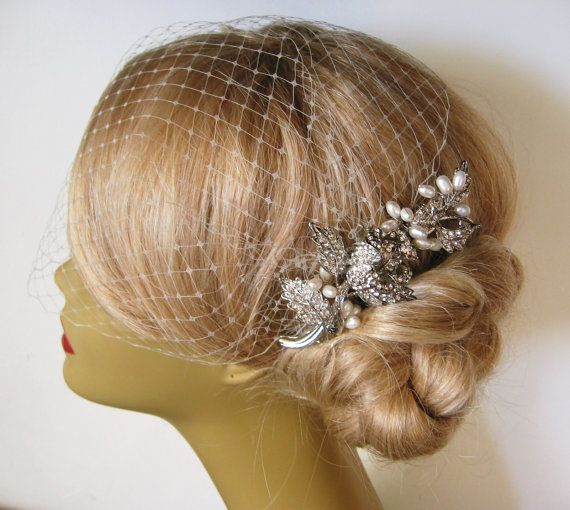Birdcage Veil and a Bridal Hair Comb (2 Items)  Rhinestone Bridal Hair Comb,Natural  Freshwater   Pearl ,Blusher Bird Cage Veil