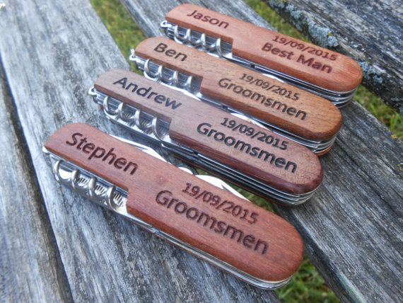 SET OF 4 Customized Pocket Knives, Laser Engraved Wood. Wedding, Men's, Groomsmen Gift, Dad, Anniversary. Knife