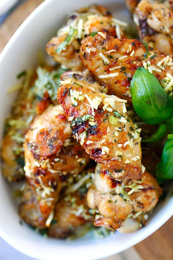 Baked Parmesan Garlic Chicken Wings - best and easiest baked chicken wings EVER with parmesan, garlic, basil, and spices, with blue cheese mustard dressing | rasamalaysia.com