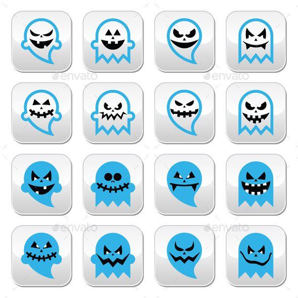 Halloween Scary Ghost, Spirit Vector Buttons Set