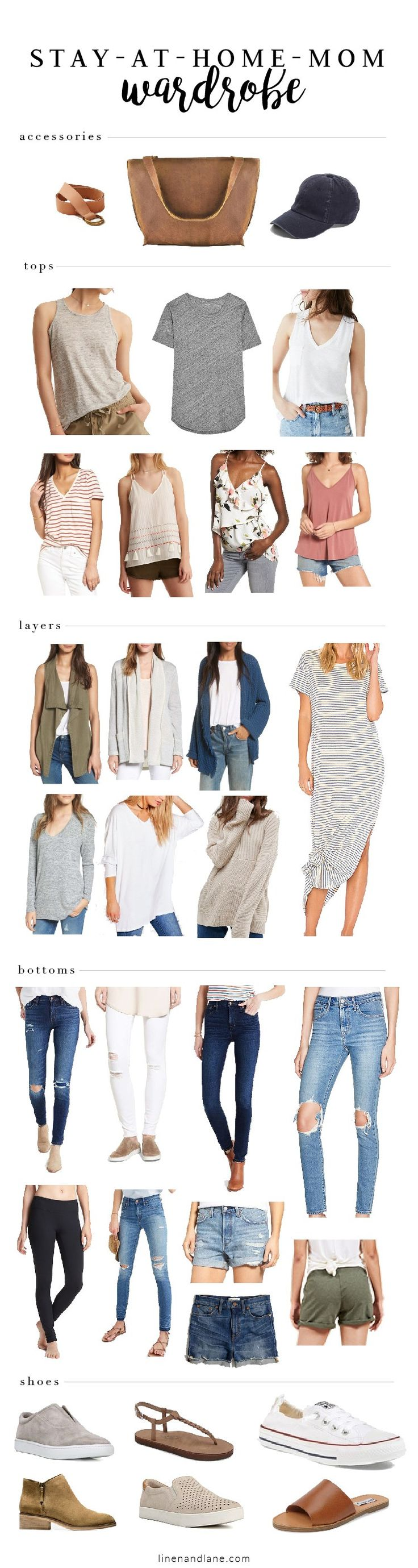 Cute stay-at-home-mom capsule wardrobe—22 basic pieces with endless outfit possibilities!
