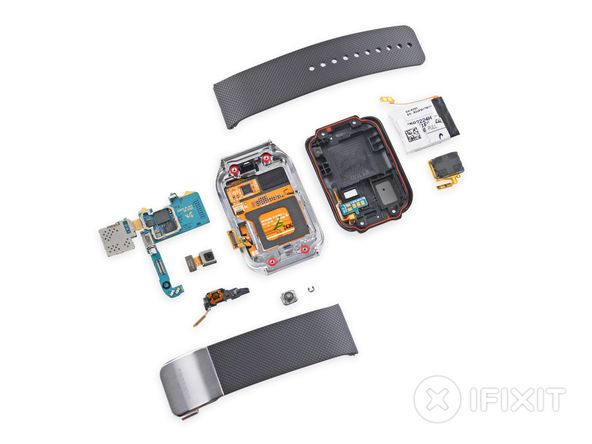 Samsung Gear 2 Teardown. Repairability Score: 8 out of 10 (10 is easiest to repair) The watch band is super easy to remove, speeding replacements and upgrades. Screws, clips, and spring contacts make up the trifecta of easy opening. Getting in through the rear case is a snap. Once you're inside, the battery can be peeled out and replaced with no tools. A fused display assembly, glued into the front of the device, makes replacement a little difficult and costly.