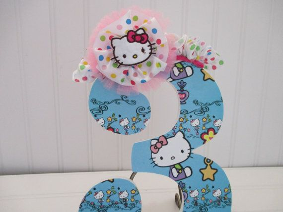 HELLO KITTY theme number numeral 15.00 per by AnniesBowKisses