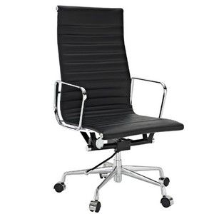 LexMod Ribbed High Back Office Chair in Black Genuine Leather