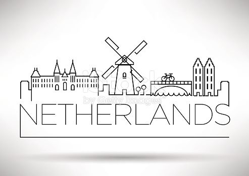 Netherlands City Line Silhouette Typographic Design