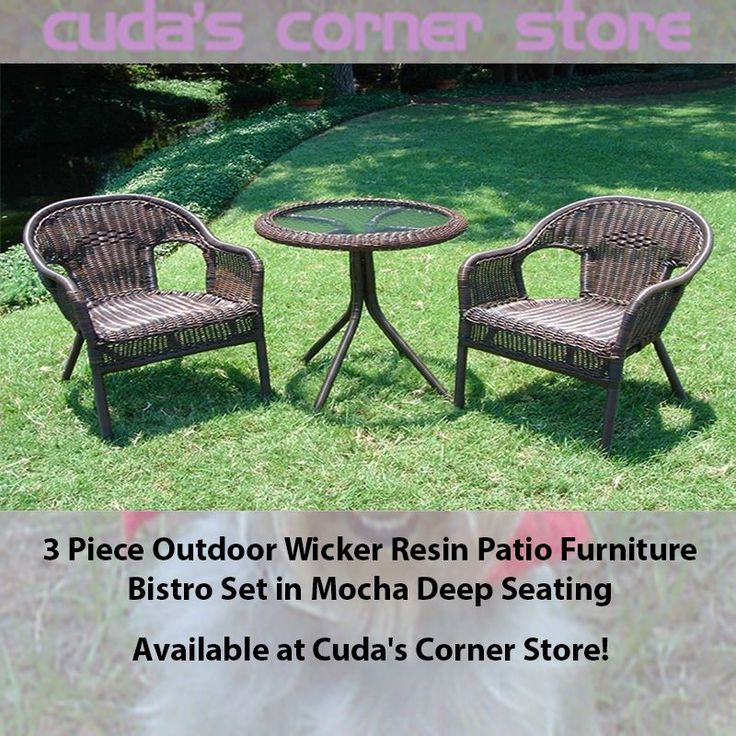 3 Piece Outdoor Wicker Resin Patio Furniture Bistro Set In Mocha Deep  Seating