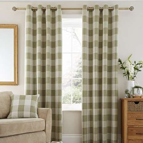 Skye Green Lined Eyelet Curtains | Dunelm