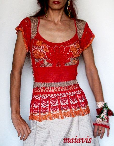 Blouses – Red Blouse crochet – a unique product by maiavis on DaWanda