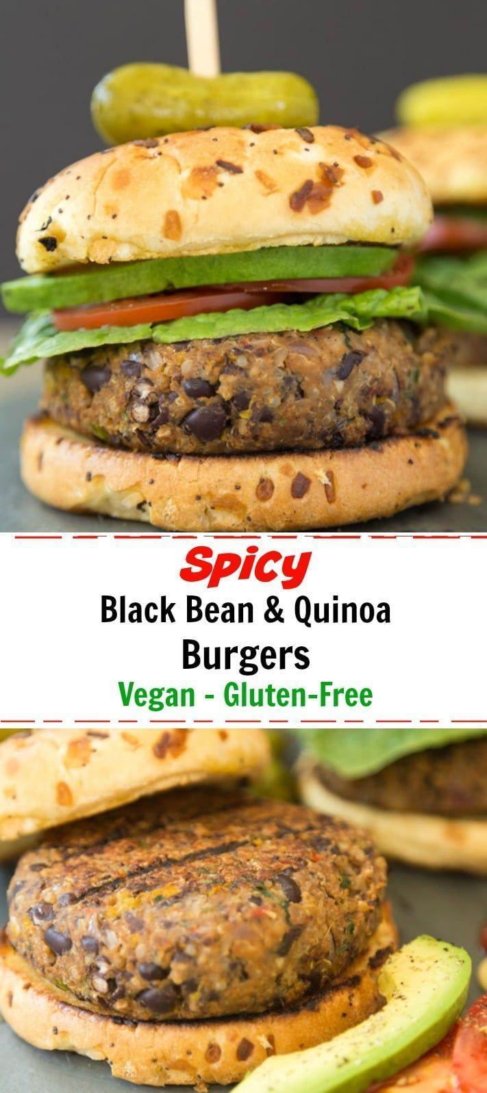 Vegan Spicy Black Bean Quinoa Burger Recipe Black Bean Quinoa Burger Quinoa Burgers Vegan Quinoa Burgers