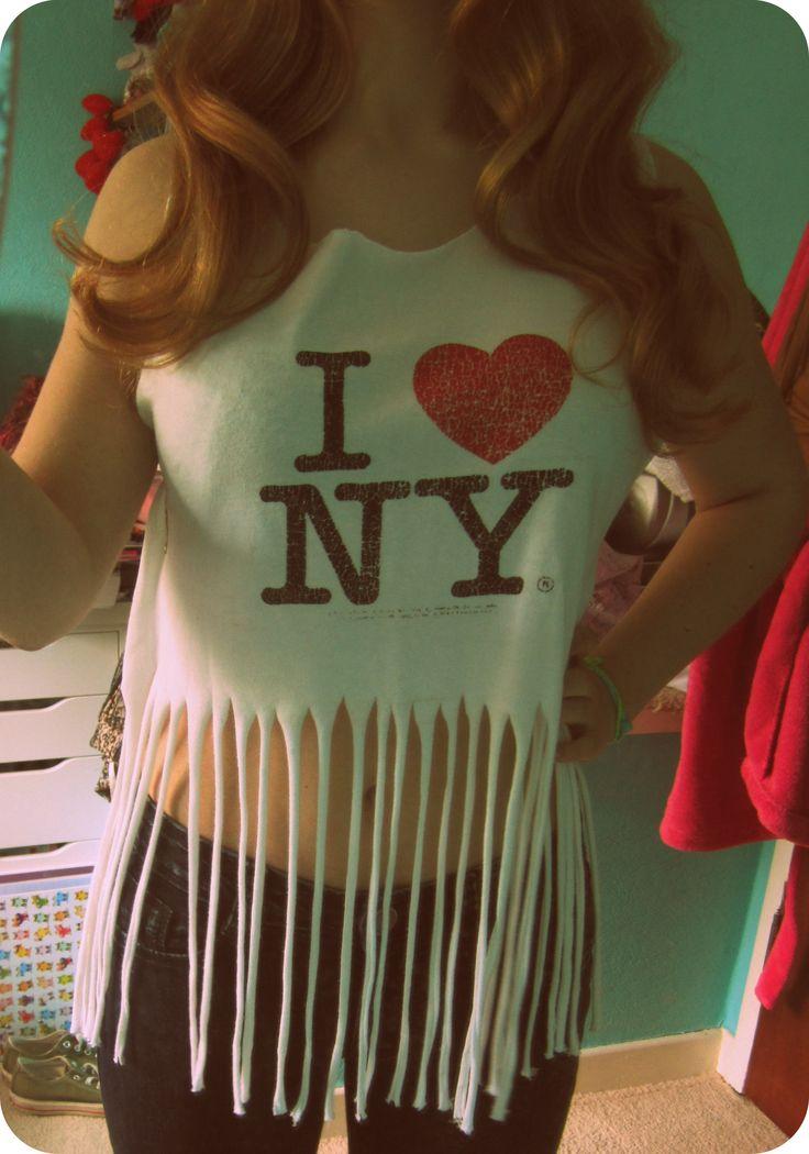 I ♥ NY fringed tshirt