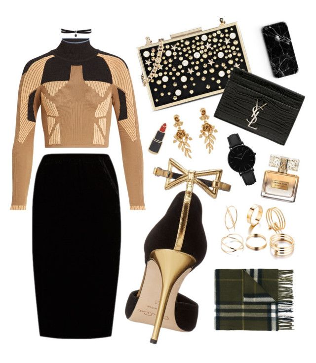 """Black & Gold Glam"" by mayacblls on Polyvore featuring adidas Originals, Jupe By Jackie, Oscar de la Renta, Karl Lagerfeld, Yves Saint Laurent, Michael Kors, Burberry, CLUSE, Georgia Perry and Givenchy"