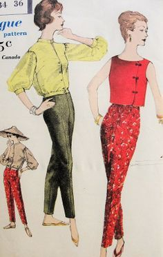 Late 1950s Jacket, Blouse and Cigarette Slim Slacks Pants Asian brocade crop top color illustration vintage fashion Pattern Vogue 9733 Vintage Sewing Pattern Bust 34