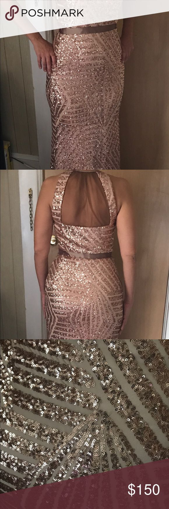 Long sequence dress Perfect condition rose long sequence dress Cache Other