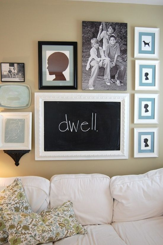 Chalkboard decor...on a family photo wall! #chalkboard