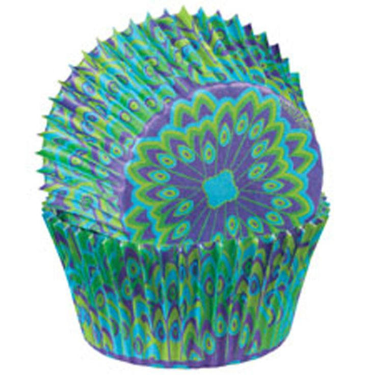 Patteren Cupcake Cups - Peacock Blue Green Purple Designer Baking Liners