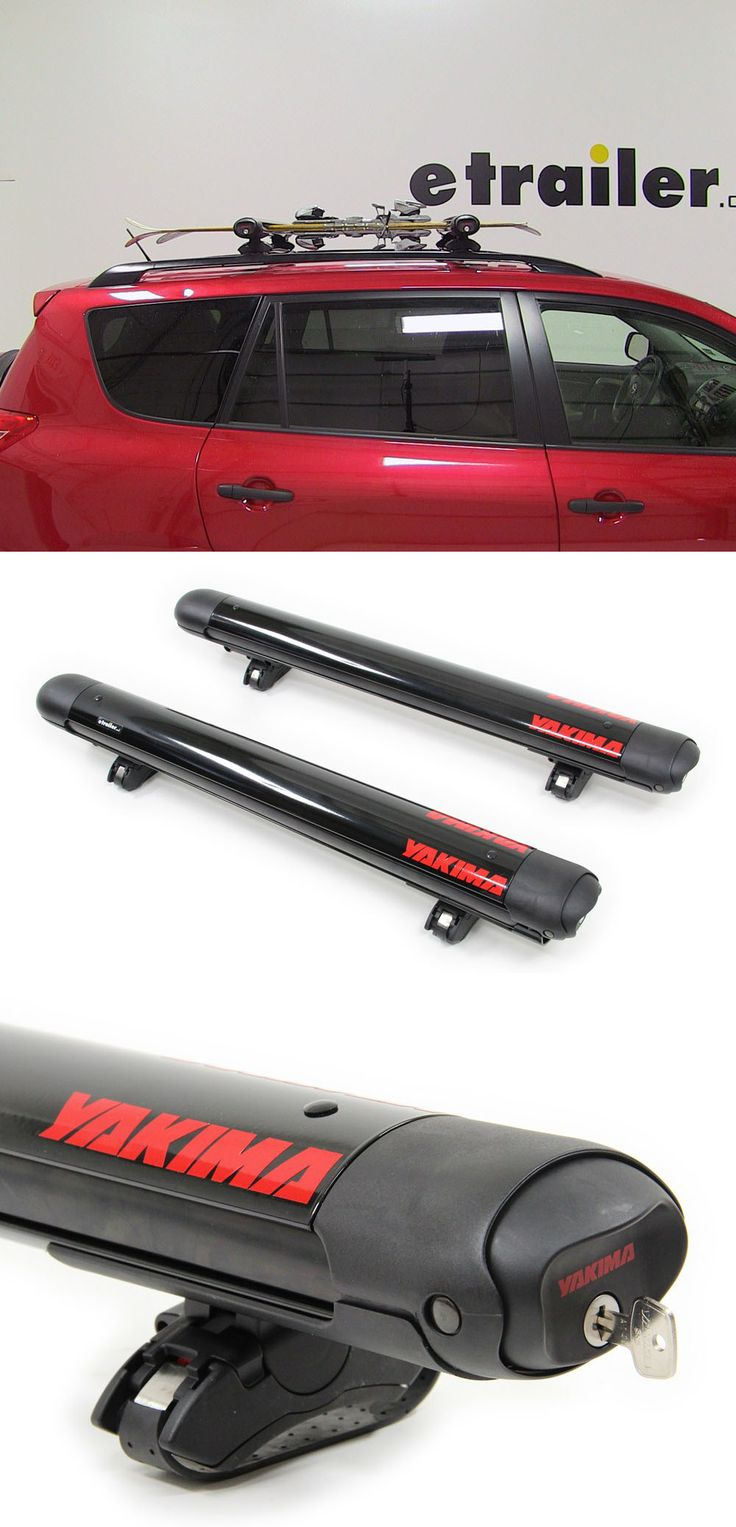 Yakima ski and snowboard rack carries up to six pairs of skis or four snowboards on the crossbars. Securely transport your gear to and form the slopes.