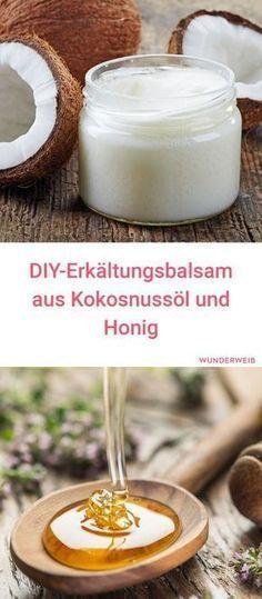 Mit diesem selbstgemachten Erkältungsbalsam aus Kokosnussöl und Honig verschwindet deine Erkältung ganz schnell! #gesundheit #erkältung #hausmittel
