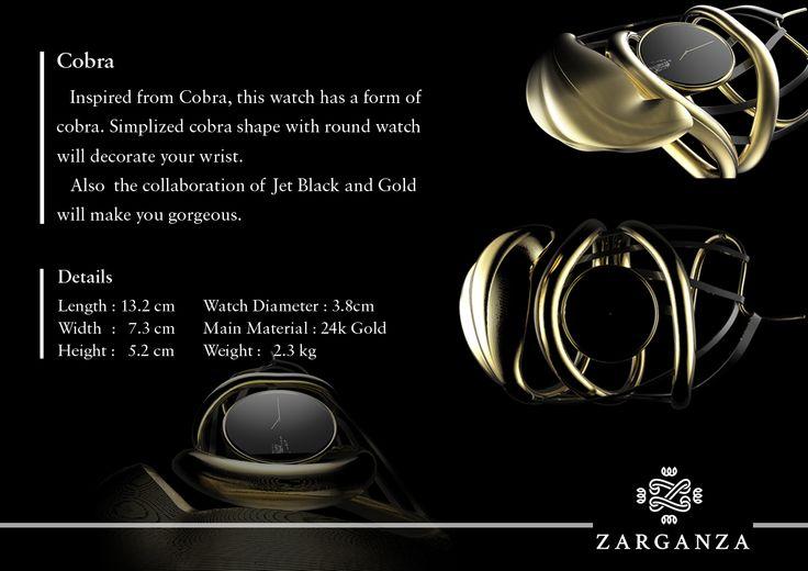 코브라 시계 팔찌 파티 골든 블랙