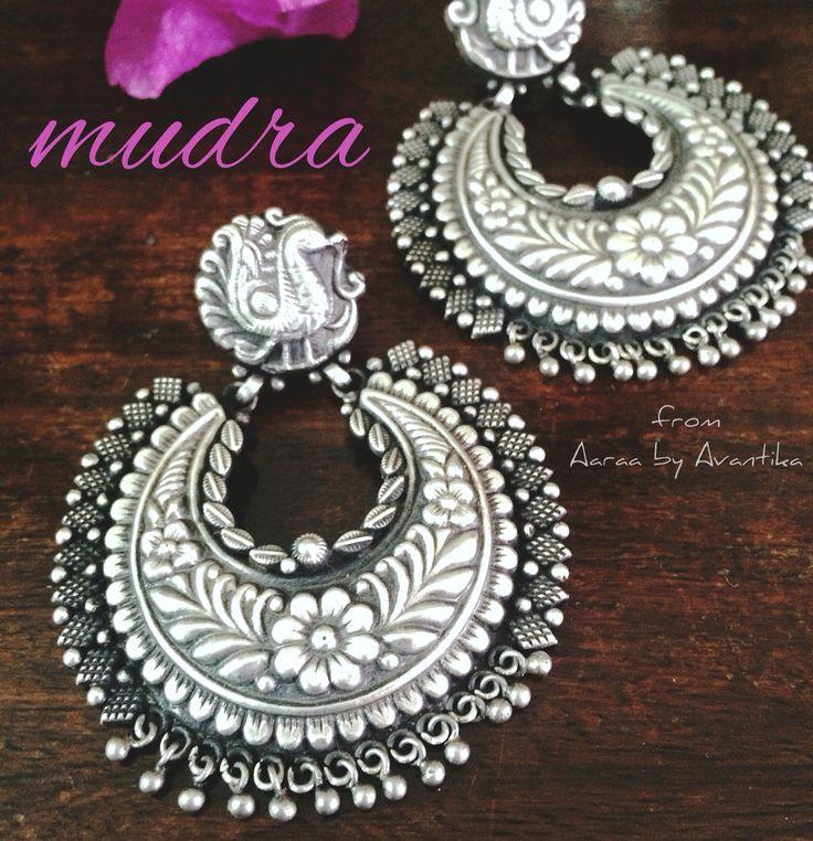 92.5 sterling silver chandbaali style earrings from Aaraa by Avantika.